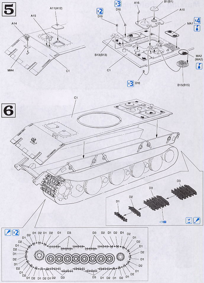 German Tank E-100 (Plastic model) Assembly guide3