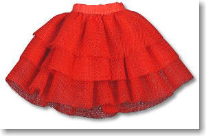 *Three Steps Tulle Panier Skirt (Red) (Fashion Doll)