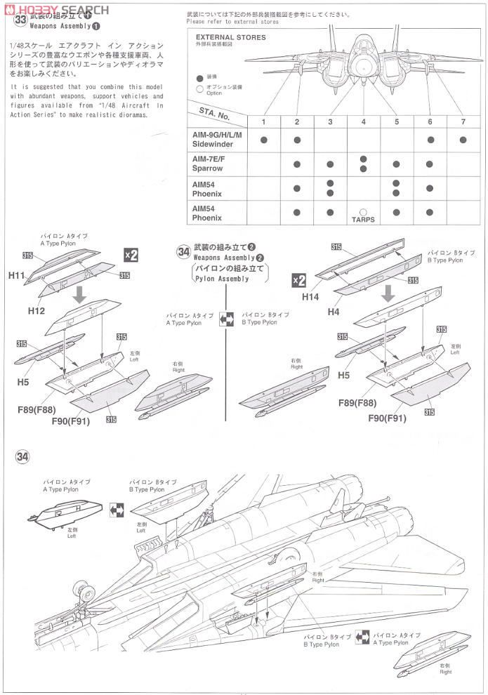 F-14A Tomcat VF-1 Wolf Pack (Plastic model) Assembly guide12