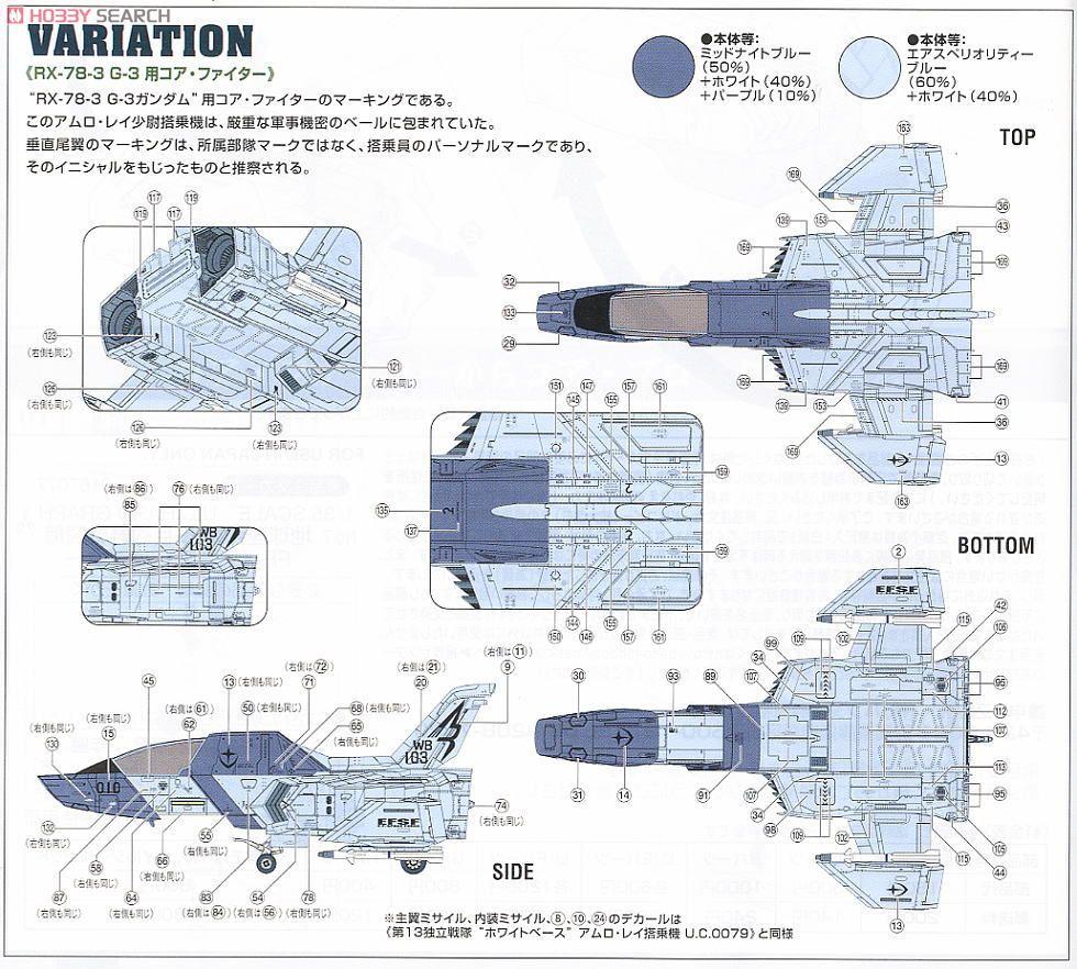 地球連邦軍 多目的軽戦闘機 FF-X7 コア・ファイター (ガンプラ)