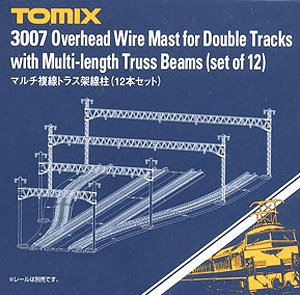 Overhead Wire Mast for Double Tracks with Multi-length Truss Beams (Set of 12) (Model Train)