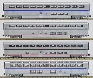 Amtrak Superliner Passenger Car Phase IVb, 4 Car Set B (Silver/Red,Blue,White Stripe) (Add-On B 4-Car Set) (Model Train)