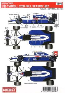 1//43 DECALS TYRRELL 021 1993 DECAL TBD312