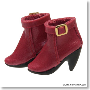 Side Belt Short Boots (Red) (Fashion Doll)