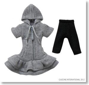 Knit One-Piece w/Parka (Gray) (Fashion Doll)