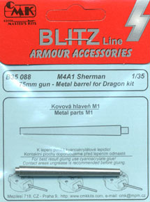 M4A1 Shaman 75mm M3 gun - Metal Barrel for Tam./ Dragon kit (Plastic model)