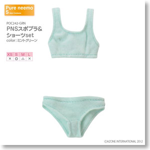 PNS Sports Brassieres & Shorts Set (Mint Green) (Fashion Doll)