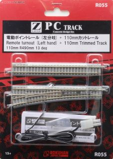 1//220 Z Scale Left Hand Rokuhan R055 R490mm 13º Remote Turnout /& 110mm Track