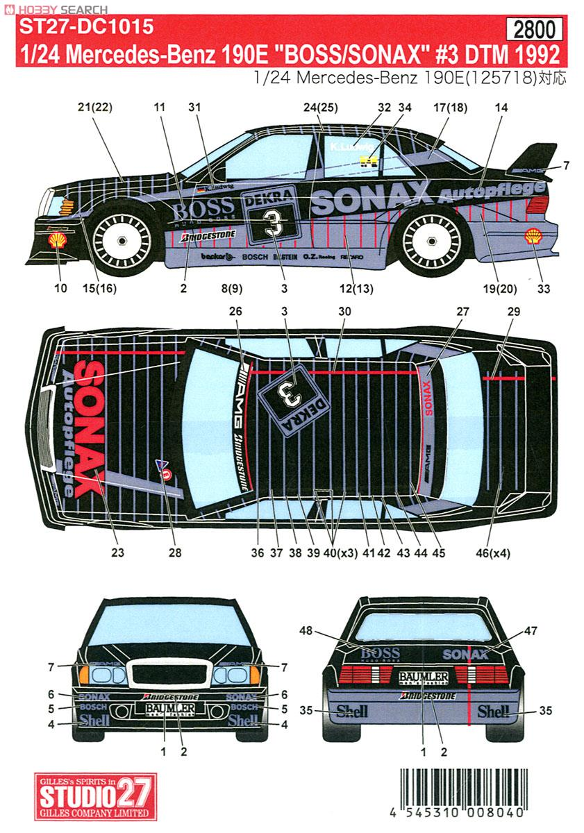 Mercedes Benz 190e Boss Sonax 3 Dtm 1992 Decal Item Picture1