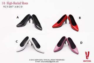 """1//6 Scale Black High-heeled Shoe For 12/"""" Phicen Verycool Female Body Doll Toys"""