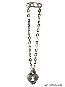 Wicked Style Heart Padlock Necklace (Antique Silver) (Fashion Doll)