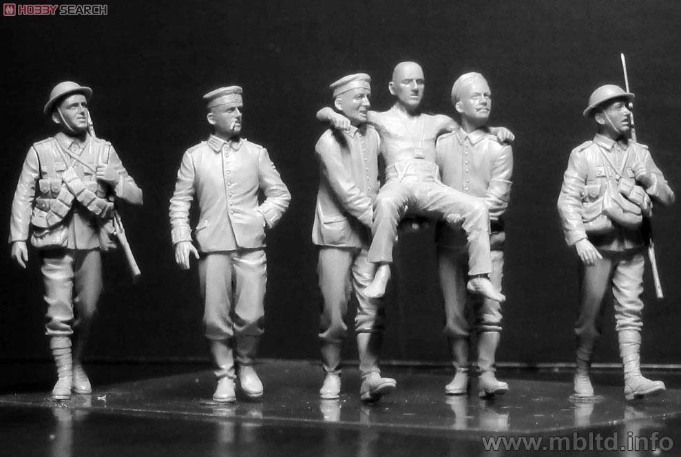 英独・両兵士6体 負傷兵搬送 英独兵各3体 ソンム戦 1916 WWI (プラモデル)