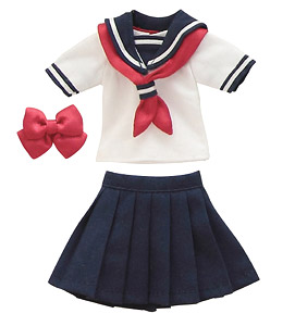 PNS Short-sleeved Sailor Suit Ribbon & Tie Set (Navy x Red) (Fashion Doll)