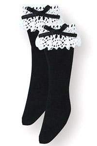 こもれび森のお洋服屋さん♪「ロリータ・ハイソックス」 (ホワイト×ブラック) (ドール)