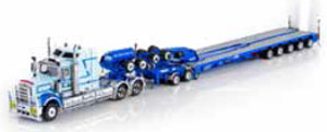 Kenworth C509 Truck with 5x8 Swingwing & 2x8 Dolly McAleese (ブルー) (ミニカー)