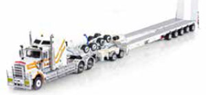 Kenworth C509 Truck with 5x8 Swingwing & 2x8 Dolly CQHH (ホワイト/イエロー) (ミニカー)