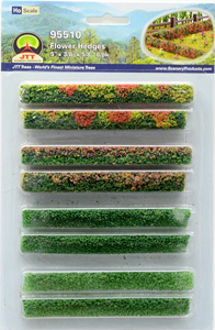 95510 HO Hedge 8 Pieces Flower Hedges 5 X