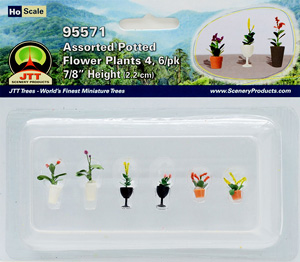 95571 (HO) 植木鉢に入った花 HOスケール (6個入り) (Assorted Potted Flower Plants 4, 6/pk 7/8`` Height 2.2cm) (鉄道模型)