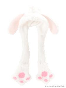 PNS こもれび森のお洋服屋さん 「たれミミうさぎフードマフラー」 (ホワイト) (ドール)