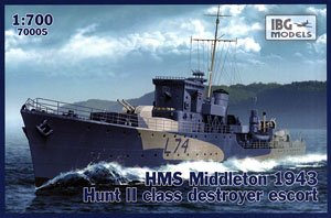 英ハントII級護衛駆逐艦・ミドルトンL74・英海軍1943年 (プラモデル)
