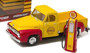 1953 Ford F-100 Shell Oil with Vintage Shell Gas Pump (ミニカー)
