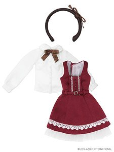 PNS Classic Girly Jumper Skirt Set (Red x Brown) (Fashion Doll)