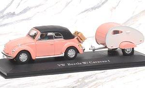 VW ビートル ソフトトップ キャンピングカー付 ピンク (ミニカー)