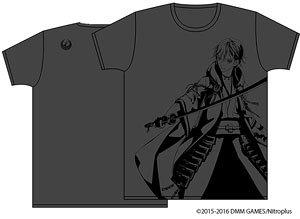 刀剣乱舞-ONLINE- 紋刺繍入りTシャツ 鶴丸国永 ヘザーブラック M (キャラクターグッズ)