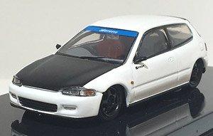 ホンダ シビック EG6 Gr.A レーシング ホワイト / ブラック ボンネット (ミニカー)