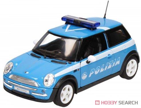 ミニクーパー POLIZIA (ライトブルー/ホワイト) パトカー (ミニカー)