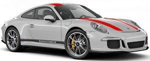 ポルシェ 911R 2016 シルバー/レッドストライプ+サイドライン+PORSCHE (ミニカー)