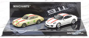 ポルシェ 911R 2016 ホワイト + ポルシェ 911 R 1967 レコードカー 2台セット (ミニカー)