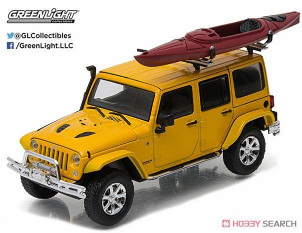 2016 Jeep Wrangler Unlimited - Metallic Yellow with Winch, Snorkel and Kayak (ミニカー)