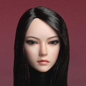 スーパーダック 1/6フィギュア用ヘッド/ アジアン フィメール ブルネットヘア ロングストレート (ドール)