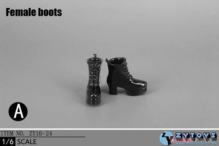 ZY-TOYS 1/6 ウーメンズファッションブーツ A (ブラック) (ZY16-24A) (ドール)