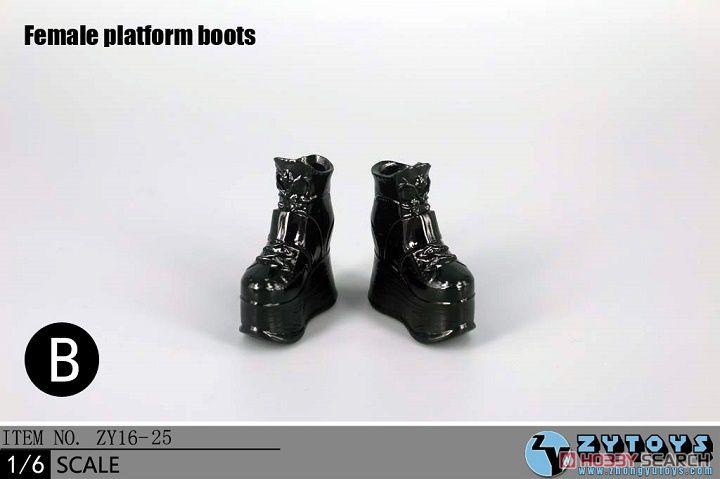 ZY-TOYS 1/6 ウーメンズ厚底ブーツ B (ブラック) (ZY16-25B) (ドール)