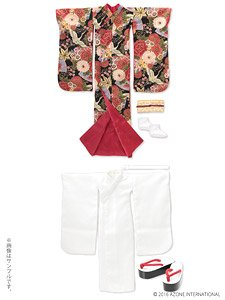 AZO2 裾引き着物セット ~絢爛華麗~ (漆黒) (ドール)