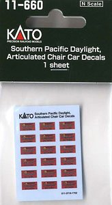 Southern Pacific Daylight, Articulated Chair Car Decals (デイライト客車SP Lines用 デカール) (1枚入) (鉄道模型)
