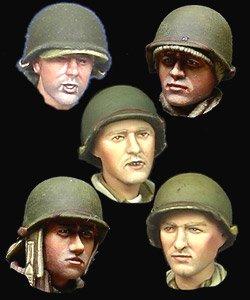 WWII 米 歩兵ヘッドセット (5個セット) (プラモデル)