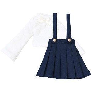ピコDニット&ストラップスカートセット (ホワイト×ネイビー) (ドール)
