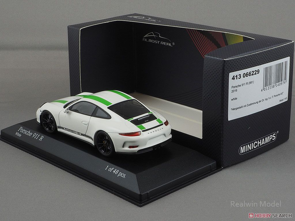 Porsche 911R 2016 White with Green Stripes Black Side Decal (ミニカー)