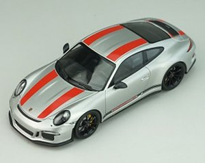 Porsche 911R 2016 GT Silver with Red Stripes Black Side Decal (ミニカー)