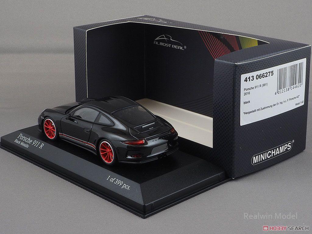Porsche 911R 2016 Black with Matt Black Stripes White/Red Side Deal (ミニカー)