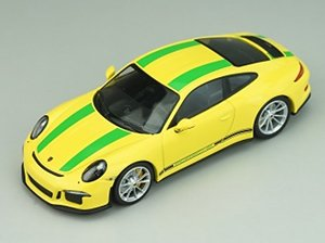 Porsche 911R 2016 Racing Yellow with Green Stripes Black Side Decal (ミニカー)