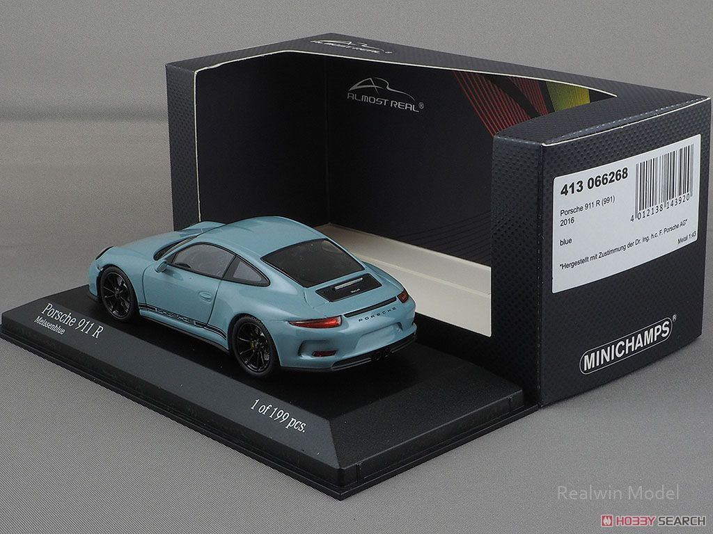 Porsche 911R 2016 Meissen Blue (Z54) Black Side Decal (ミニカー)