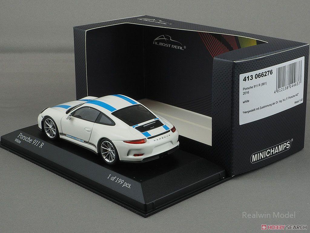 Porsche 911R 2016 White with Blue Stripes Black Side Decal (ミニカー)