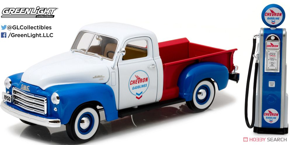 1950 GMC 150 Chevron with Vintage Chevron Pump (ミニカー)