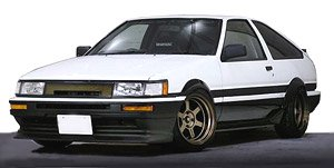 Toyota Corolla Levin (AE86) 3Door GT Apex White/Black RAYS-Wheel (ミニカー)