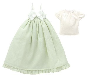50 BlackRavenClothing Spring Color One Piece Dress Set (Cream x Glass Green) (Fashion Doll)