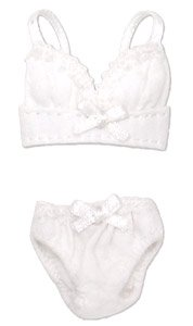 Ribbon Brassiere & Shorts Set (White) (Fashion Doll)